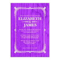 Purple Rustic Barn Wood Wedding Invitations