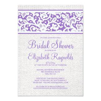 Purple Rustic Burlap Linen Bridal Shower Invites