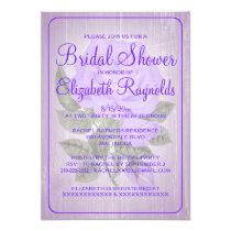Purple Rustic Floral Bridal Shower Invitations
