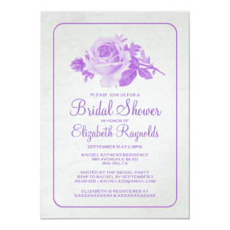 Purple Rustic Floral/Flower Bridal Shower Invites Custom Invite