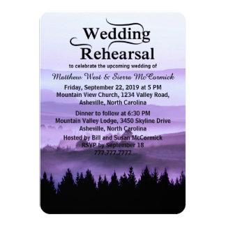 Purple Rustic Mountain Wedding Rehearsal Dinner Card
