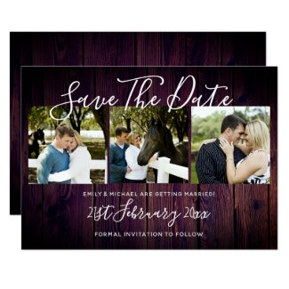 Purple Rustic PHOTO Collage Save The Date Wedding Invitation
