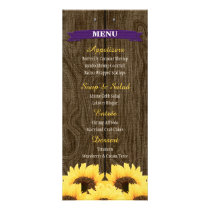 PURPLE RUSTIC SUNFLOWER MENU CARD