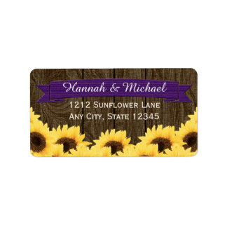 PURPLE RUSTIC SUNFLOWER RETURN ADDRESS LABEL