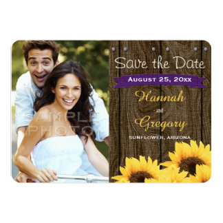 "PURPLE RUSTIC SUNFLOWER SAVE THE DATE CARD 5"" X 7"" INVITATION CARD"