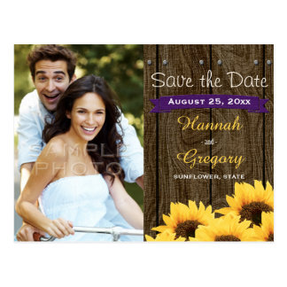 PURPLE RUSTIC SUNFLOWER SAVE THE DATE POSTCARD
