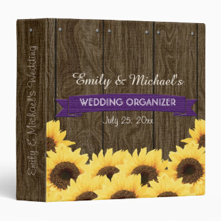 PURPLE RUSTIC SUNFLOWER WEDDING ORGANIZER BINDER