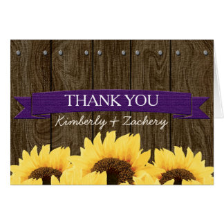 PURPLE RUSTIC SUNFLOWER WEDDING THANK YOU CARD