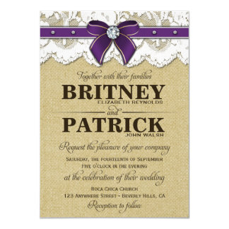 "Purple Rustic Vintage Burlap Wedding Invitations 4.5"" X 6.25"" Invitation Card"