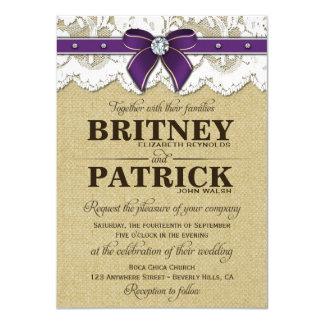 Purple Rustic Vintage Burlap Wedding Invitations
