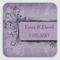 Purple Rustic Vintage Wedding Square Sticker