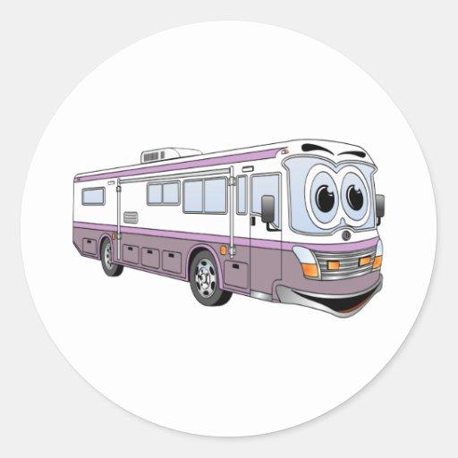 Purple RV Bus Cartoon Camper Classic Round Sticker