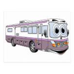 Purple RV Bus Cartoon Camper Post Card