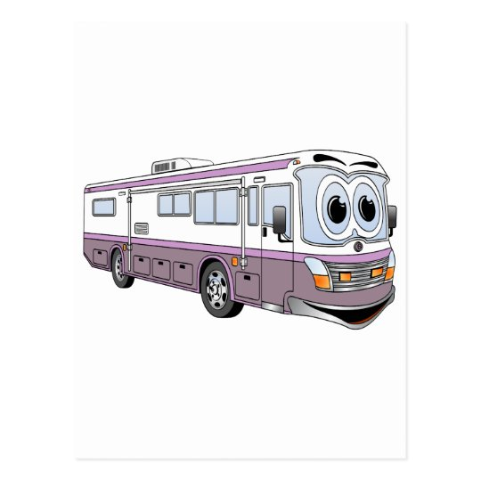 Purple RV Bus Cartoon Camper Postcard