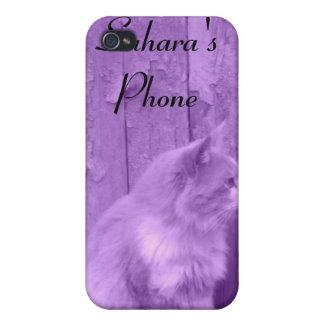 Purple Sahara cat customizable iPhone 4 case