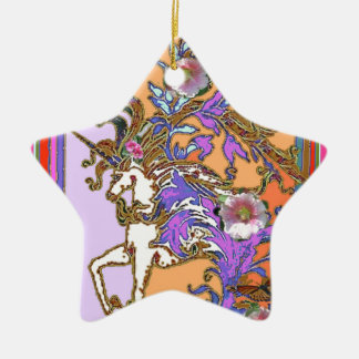 Purple-salmon Unicorn Party gifts by Sharles Ceramic Ornament