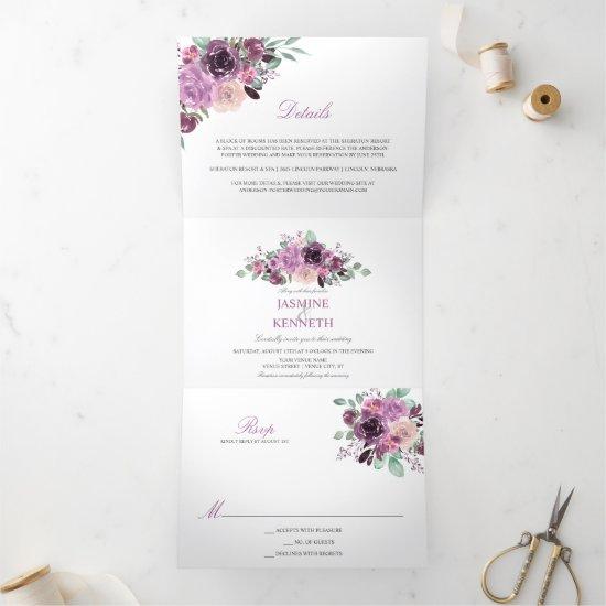 Purple Sangria Mauve Watercolor Flowers Greenery Tri-Fold Invitation