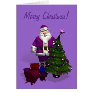 Purple Santa Claus Card