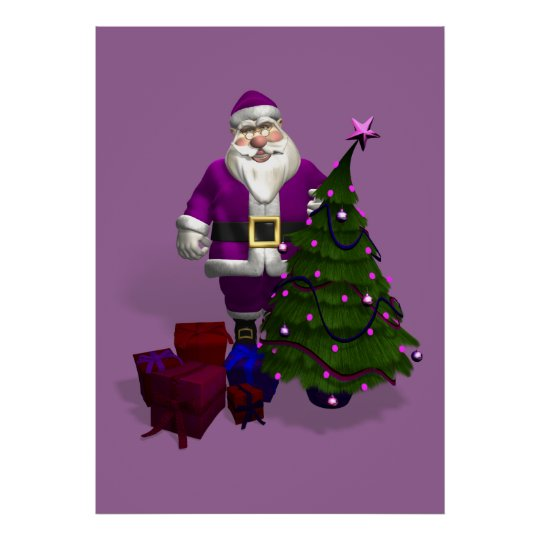 Purple Santa Claus Poster
