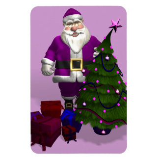 Purple Santa Claus Rectangular Photo Magnet