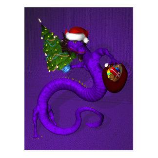 Purple Santa Dragon Post Cards