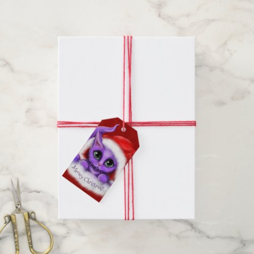 Purple Santa Kitty Meowy Christmas Gift Tags