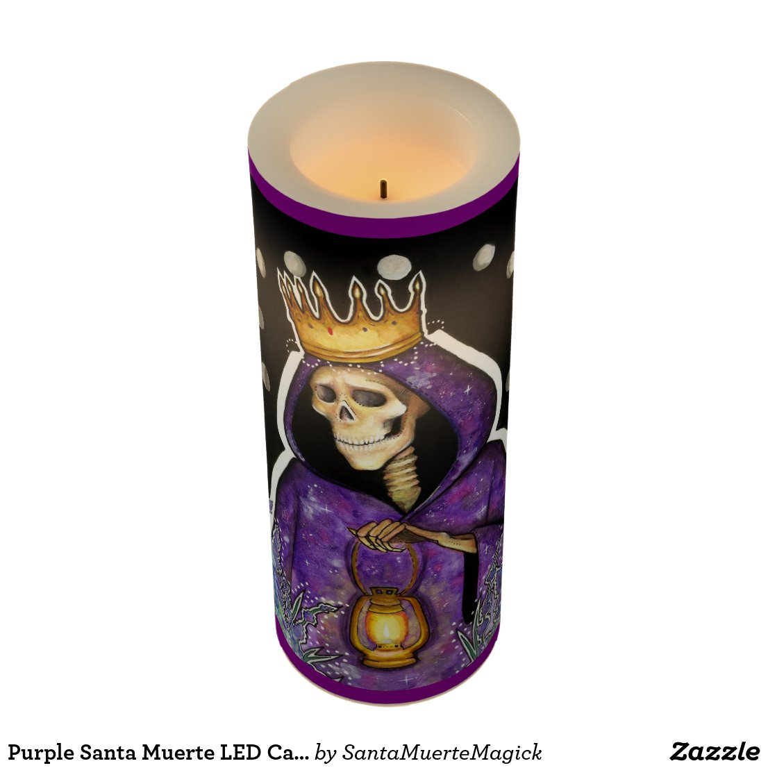 Purple Santa Muerte LED Candle