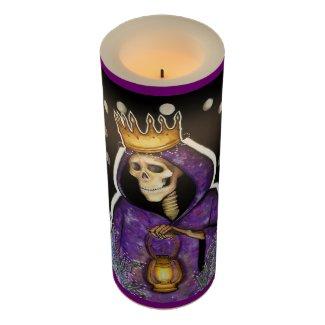 Purple Santa Muerte LED Candle