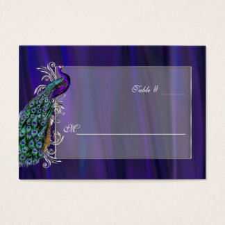 Purple Satin and Peacocok Wedding Place Card