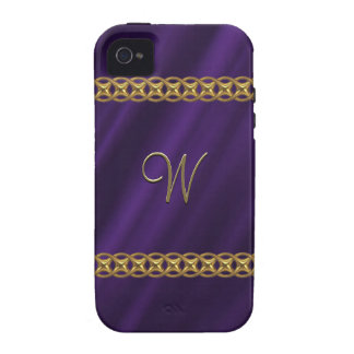 Purple satin gold chain iPhone 4 cases