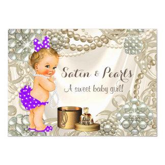 Purple Satin Pearl Girly Baby Girl Shower Card