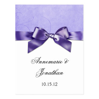 Purple Satin Ribbon Save the Date Postcard