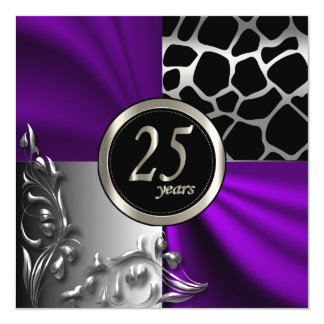 Purple Satin & Silver 25 Year Party Template Card