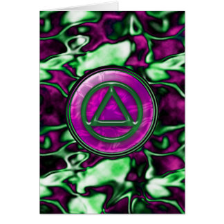 Purple Satin Sober Sobriety Recovery AA Card