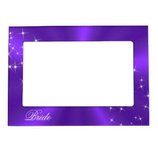 Purple Satin Sparkly Bride's Frame Magnet