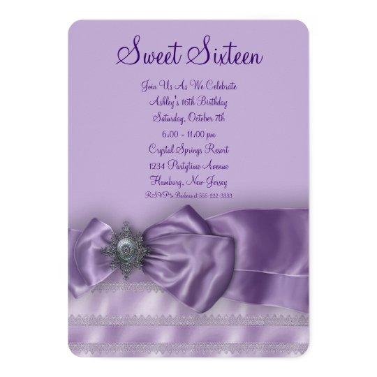Purple Satin Sweet Sixteen Birthday Party Card
