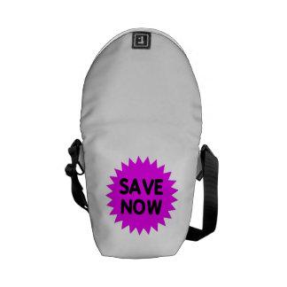 Purple Save Now Messenger Bag