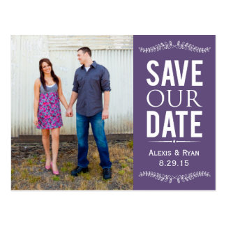 Purple Save The Date  Floral USPS Photo Postcard