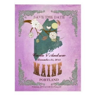 Purple Save The Date - Maine Map With Lovely Birds Postcard