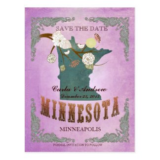 Purple Save The Date - MN Map With Lovely Birds Postcard