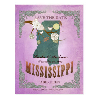 Purple Save The Date - MS Map With Lovely Birds Postcard