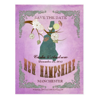 Purple Save The Date - NH Map With Lovely Bird Postcard