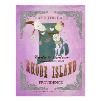 Purple Save The Date - RI Map With Lovely Birds Postcard