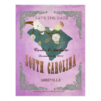 Purple Save The Date - SC Map With Lovely Bird Postcard
