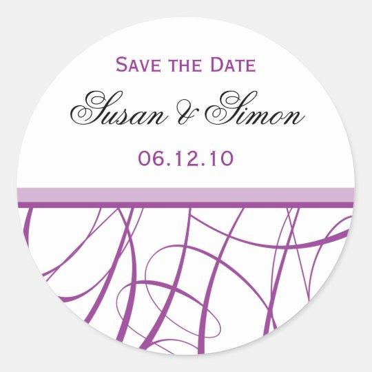 Purple Save the Date Sticker