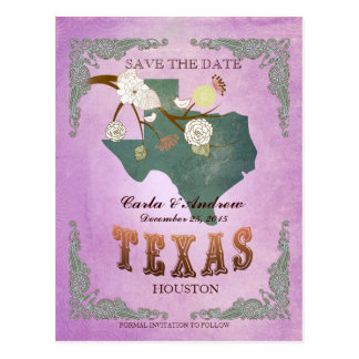 Purple Save The Date - Texas Map With Lovely Birds Postcard