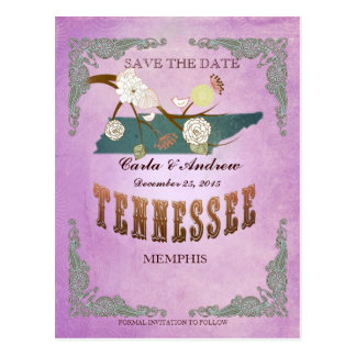 Purple Save The Date - TN Map With Lovely Birds Postcard