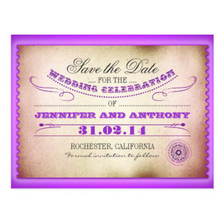 purple save the date vintage tickets postacards postcard