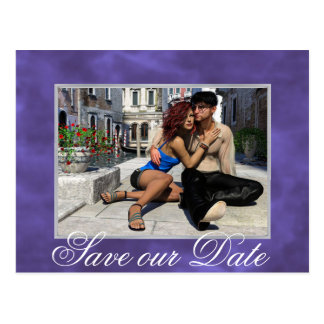 Purple Save the Date | Violet Watercolor Photo Postcard