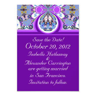 "Purple Save the Date Wedding Announcement Card 5"" X 7"" Invitation Card"